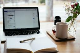 Desktop with notebook